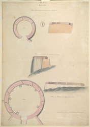 Plan, elevation and section of the bastion, Bellary Fort